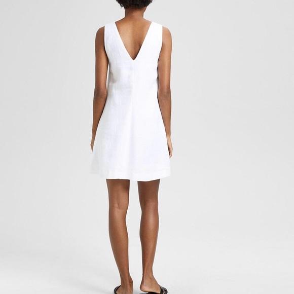White Linen V-neck Dress
